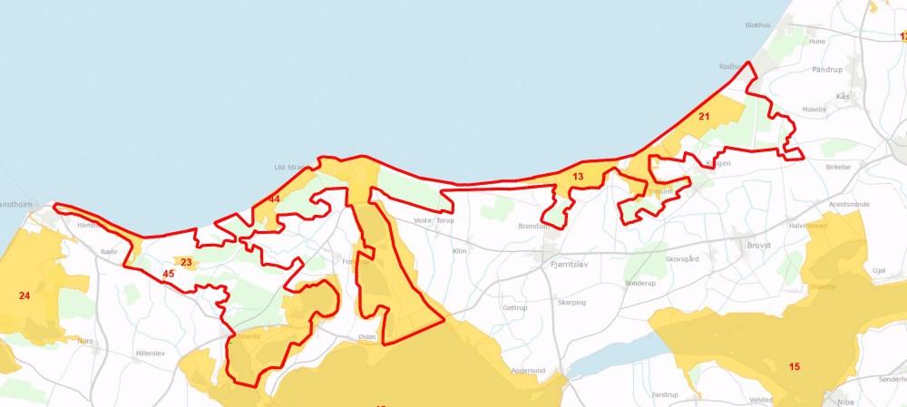 Forslaget til Naturnationalpark Han Herred overlapper flere Natura 2000-områder
