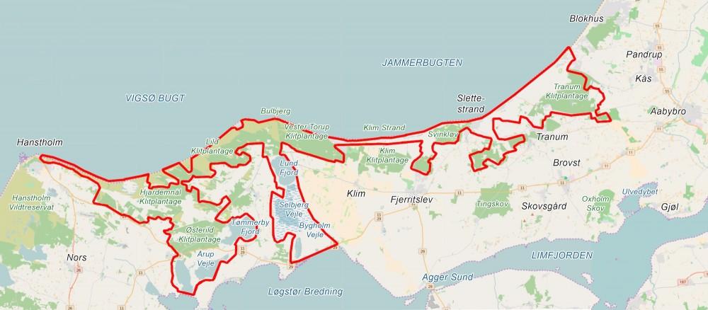 Forslag til Naturnationalpark Han Herred – ca. 24.400 hektar naturreservat (kortet er baseret på OpenStreetMap)