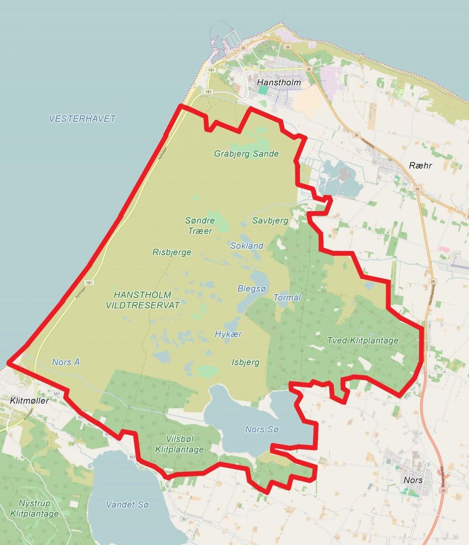 Forslag til afgrænsning af Naturnationalpark Hanstholm Vildtreservat (baseret på OpenStreetMap)