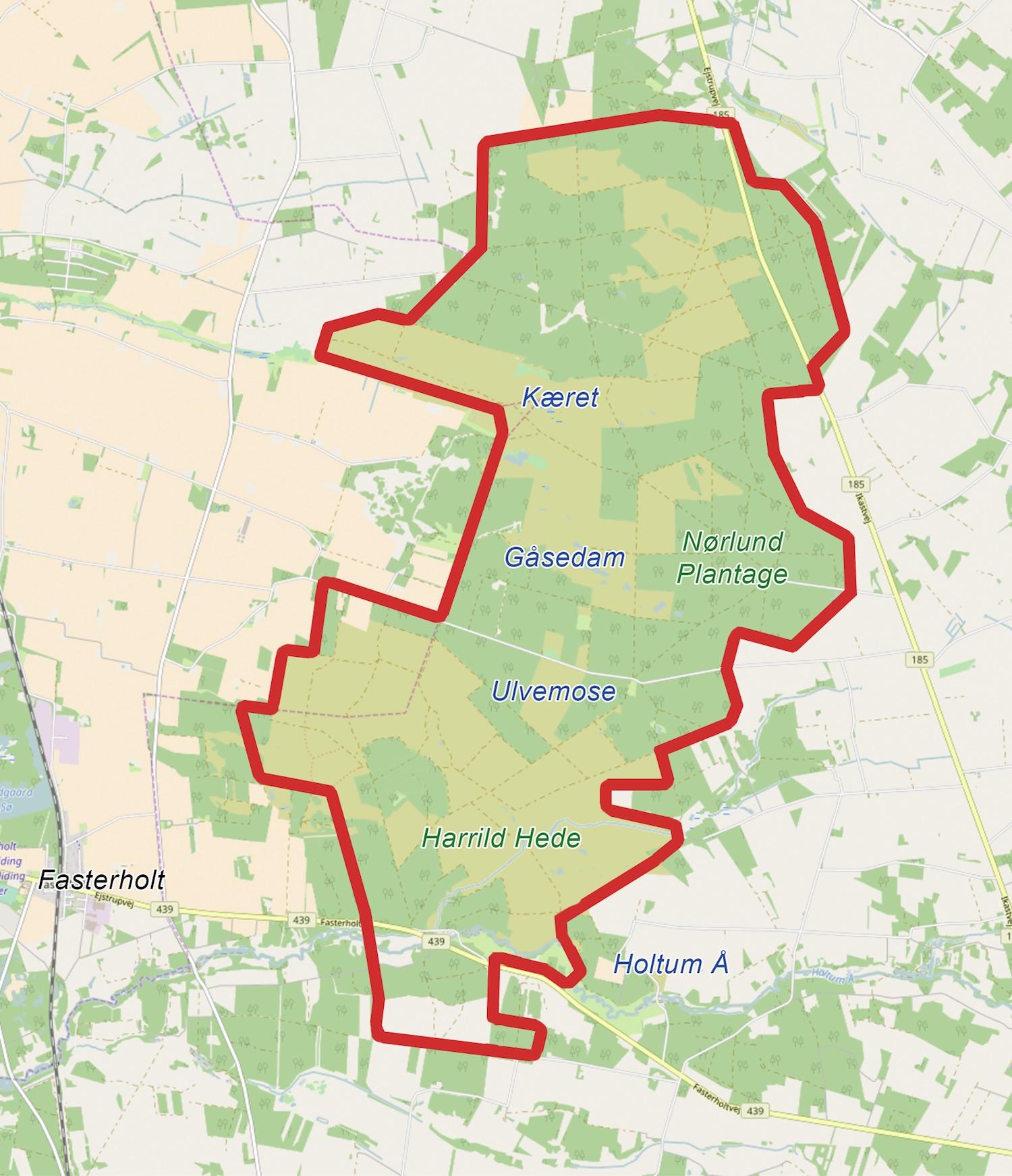 Naturnationalpark Harrild Hede & Nørlund Skov – et 3.000 hektar stort naturreservat (kortet er bl.a. baseret på OpenStreetMap)