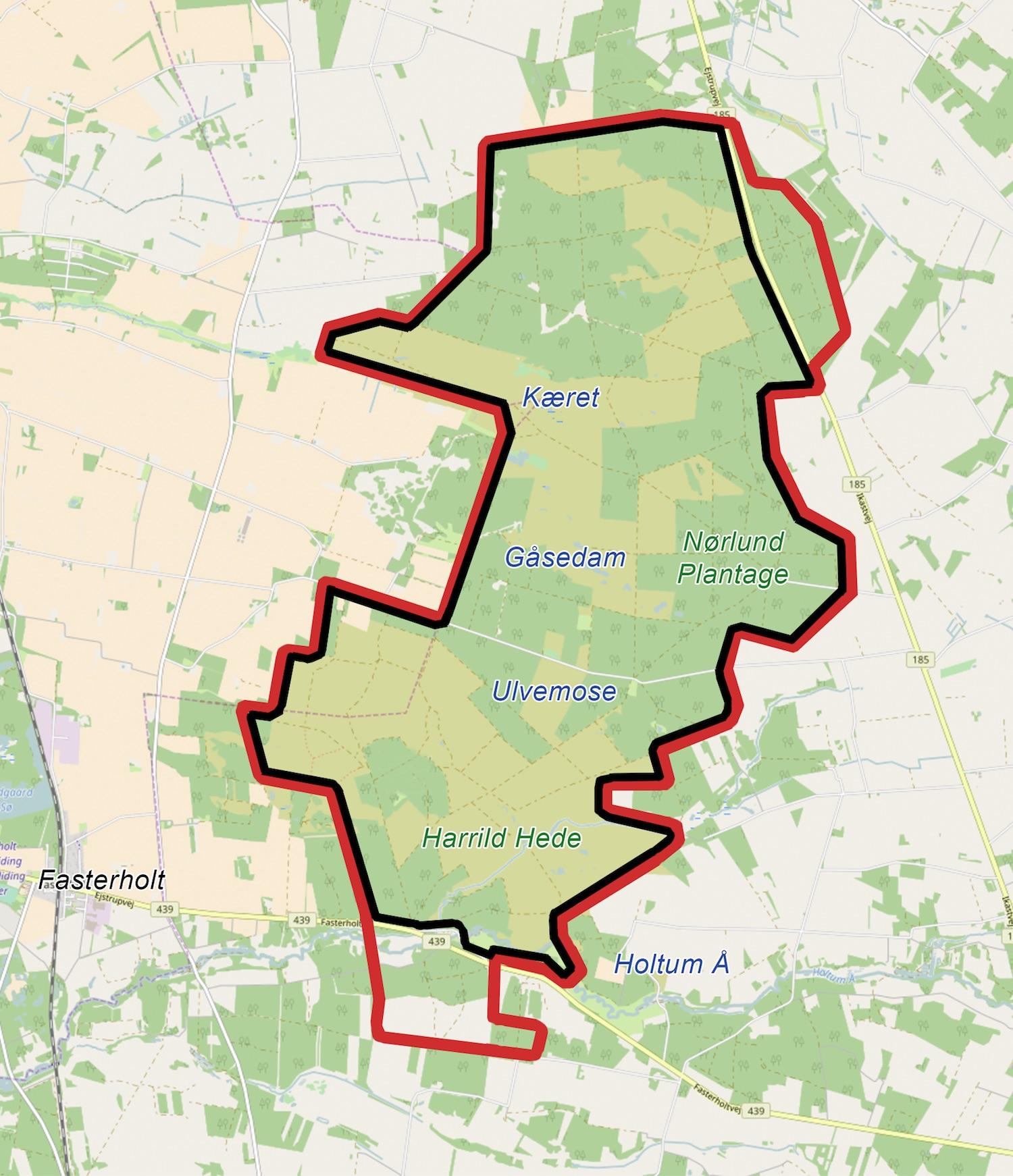 Foreslag til en 30 kilometer hegnslinje omkring det meste af Naturnationalpark Harrild Hede & Nørlund Skov