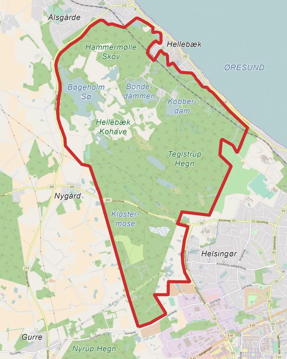 Foreslået afgrænsning af en 1.000 hektar stor Naturnationalpark Hellebæk Skov & Teglstrup Hegn