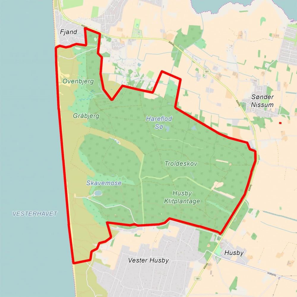 Forslag til Naturnationalpark Husby Kyst & Skov på ca. 1.100 hektar