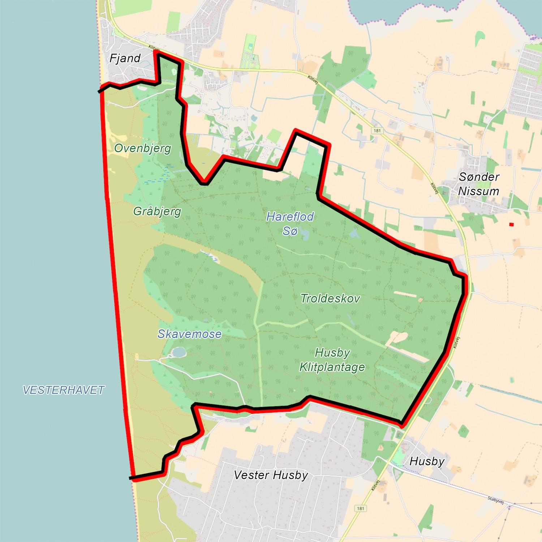 Forslag til en hegnslinje omkring afgrænsningen af Naturnationalpark Husby Kyst & Skov (havet udgør naturligvis en afgræsning i sig selv)
