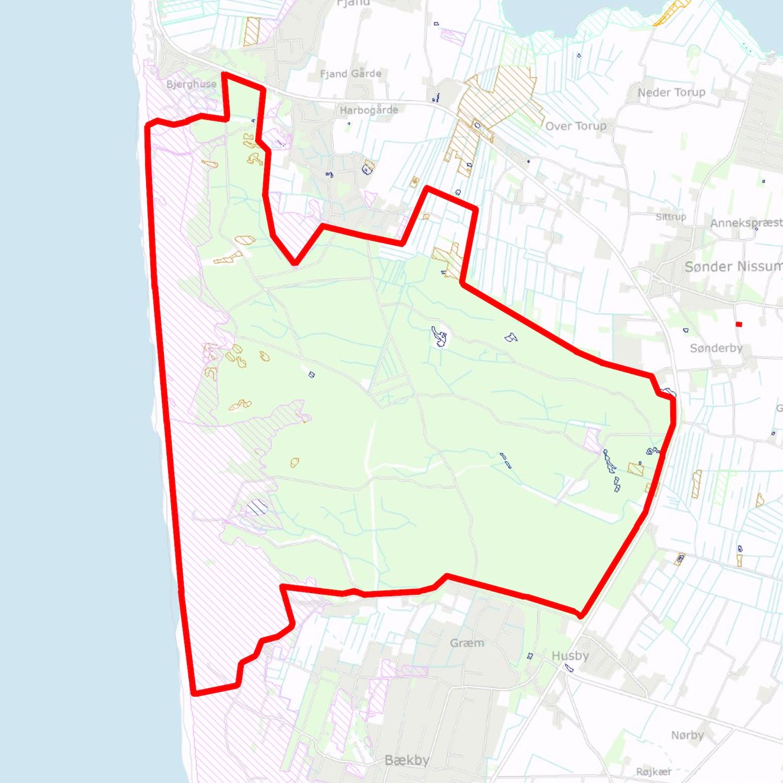 Skraverede arealer er beskyttet efter paragraf 3 i Naturbeskyttelsesloven – hele strand- og kystlinjen