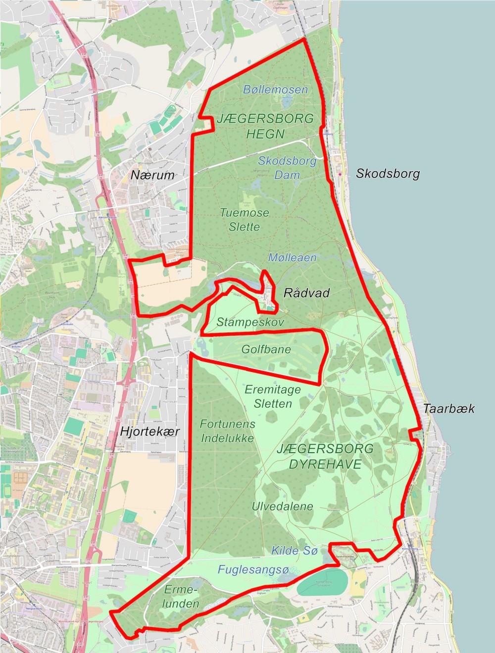 Forslag til afgrænsning af Naturnationalpark Jægersborg Hegn & Dyrehave – et samlet naturreservat på ca. 15 kvadratkilometer (kortene er bl.a. baseret på OpenStreetMap)