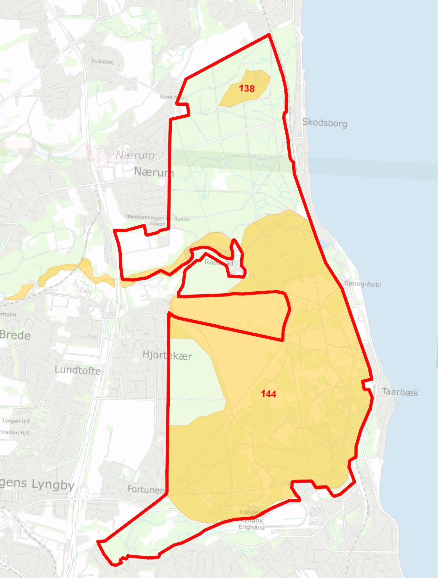 Den foreslåede afgrænsning overlapper Natura 2000-områder nr. 138 og 144