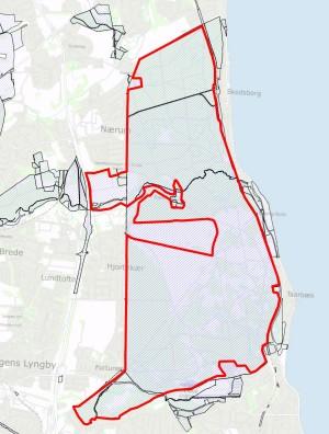 Statsejede arealer (skraveret) inden og uden for den foreslåede afgrænsning af Naturnationalpark Jægersborg Hegn & Dyrehave