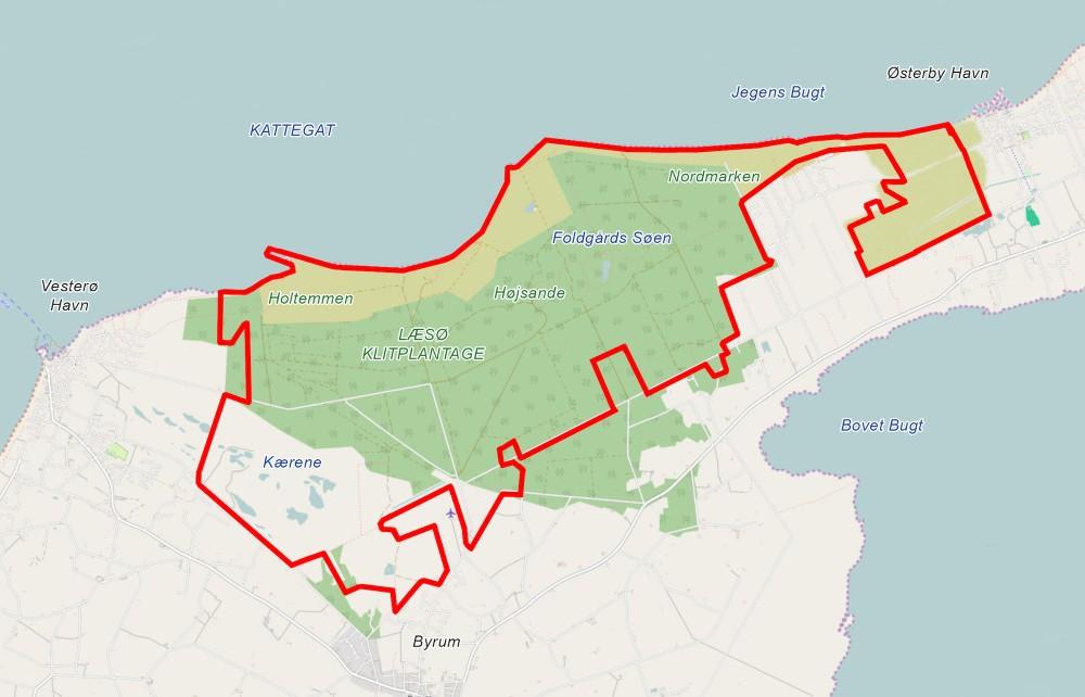 Naturnationalpark Læsø – ca. 2.500 hektar vildere natur (kortet er baseret på OpenStreetMap).