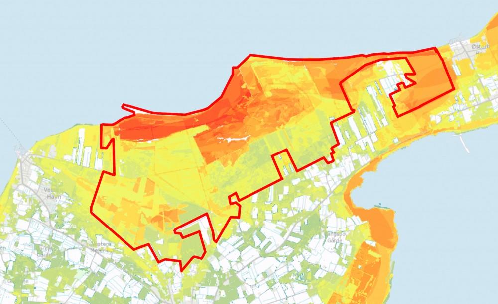 Bioscore er et mål for koncentrationen af truede arter og potentielle levesteder for truede arter – og den er meget høj på den nordlige del af Læsø (jo varmere farver, desto højere koncentration).