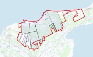 Statsejede arealer på Læsø (skraverede)