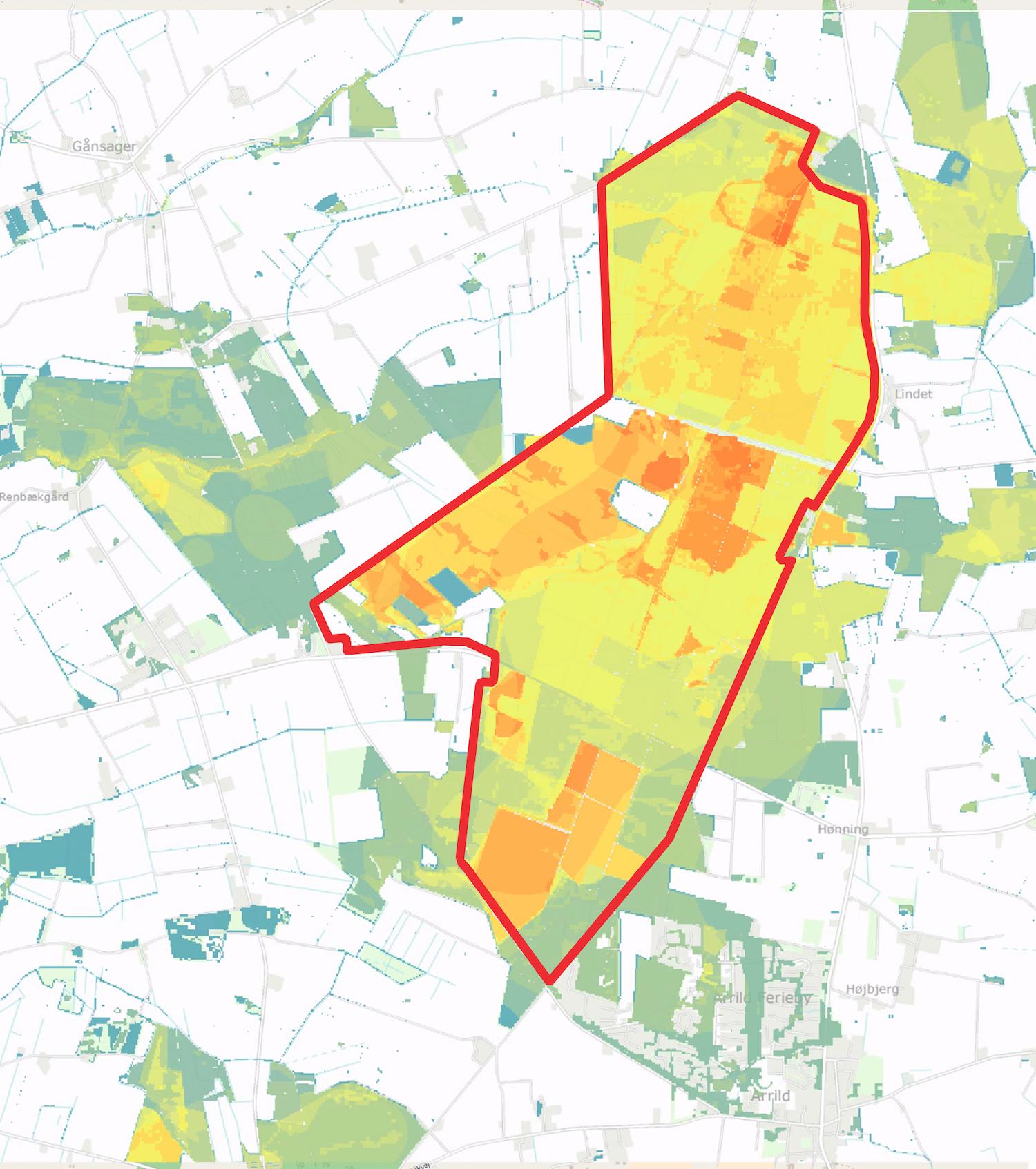 At forslaget til Naturnationalpark Lindet Skov & Hønning Mose inkluderer nogel af de væsentligtste naturværdier, fremgår af dette kort over områdets bioscore (et mål for koncentrationen af truede arter og potentielle levesteder for truede arter – jo varmere farve, desto højere værdi).