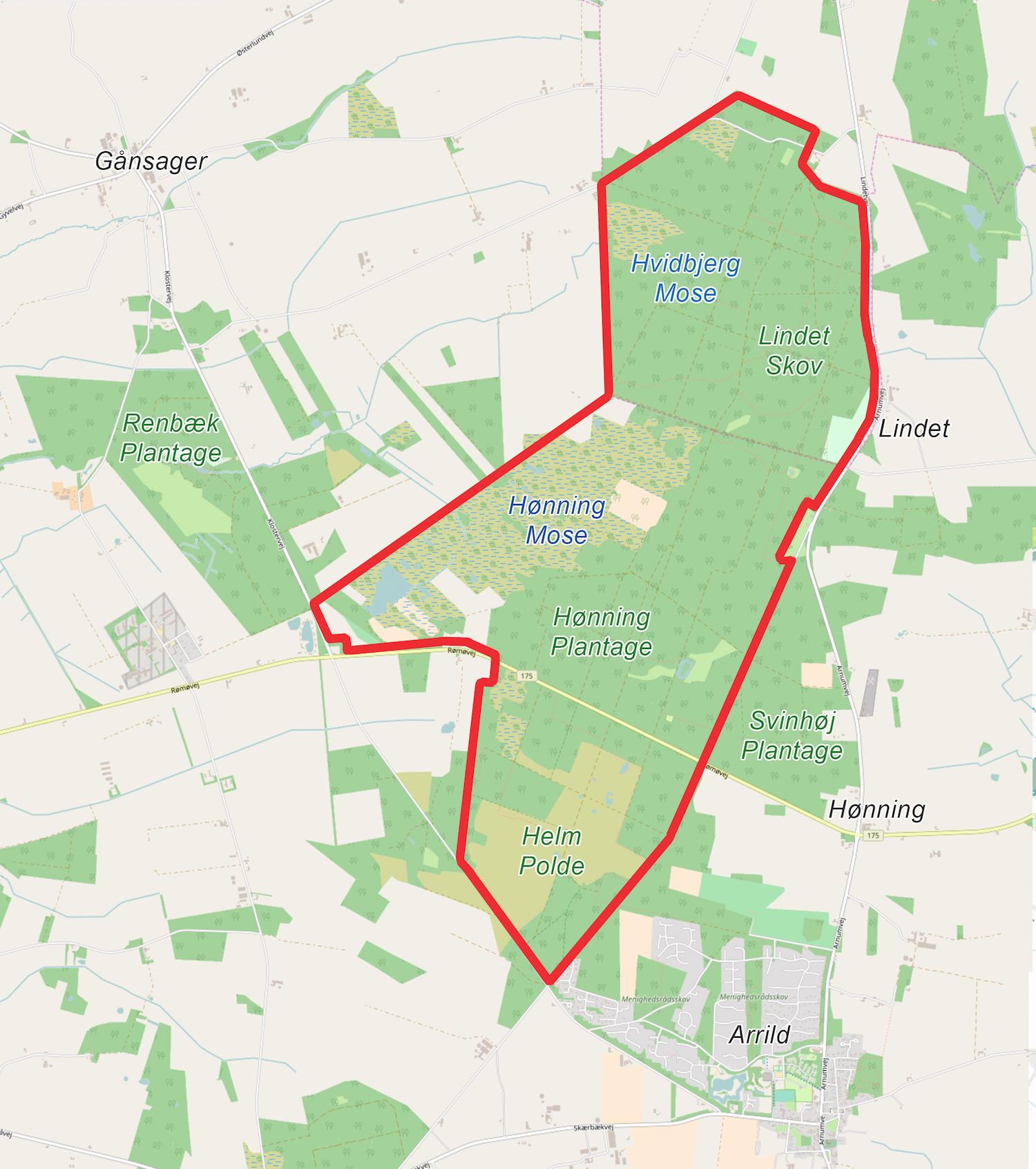 Forslag til Naturnationalpark Lindet Skov & Hønning Mose – et omtrent 1.100 hektar stort naturreservat med potentiale for vildere natur på naturligere præmisser (kortet er baseret på OpenStreetMap).