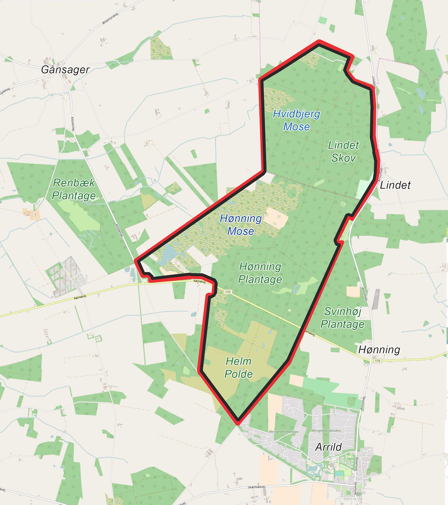 Forslag til en hegnslinje på ca. 27 kilometer omkring hele Naturnationalpark Lindet Skov & Hønning Mose.