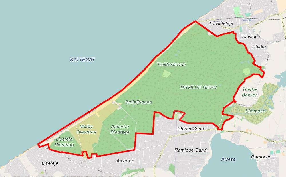 Forslag til rammerne for Naturnationalpark Melby Hede & Tisvilde Hegn – stort potentiale for 21 kvadratkilometer vildere natur (dette og sidens øvrige kort indeholder data fra Geodatastyrelsen, Matrikelkortet, WMS-tjeneste)
