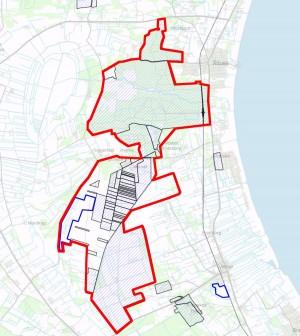 Naturstyrelsens arealer på det foreslåede areal er skraverede. Arealerne med blå afgrænsning er ejet af Aage V. Jensen Naturfond (længst mod vest) eller Frederikshavn Kommune (syd for Jerup)
