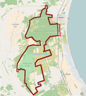 Forslag til en 34 kilometer lang hegnslinje omkring Naturnationalpark Råbjerg Mose & Ålbæk Skov.