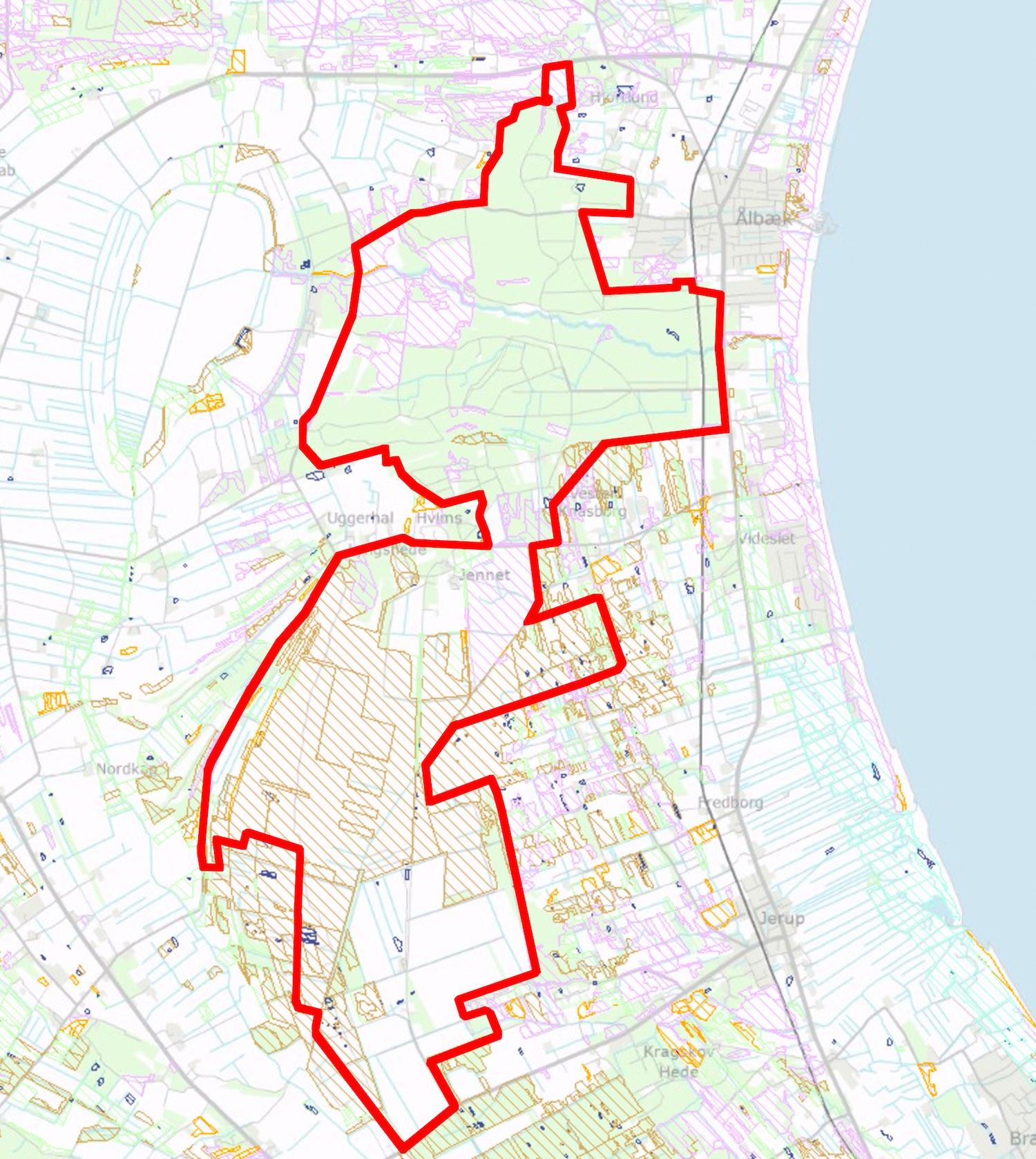 Størstedelen af Råbjerg Mose er beskyttet efter Naturbeskyttelseslovens paragraf 3 (beskyttelsen omfatter skraverede områder).