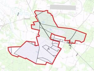 Næsten hele det foreslåede område er i forvejen ejet at staten (skraverede felter)