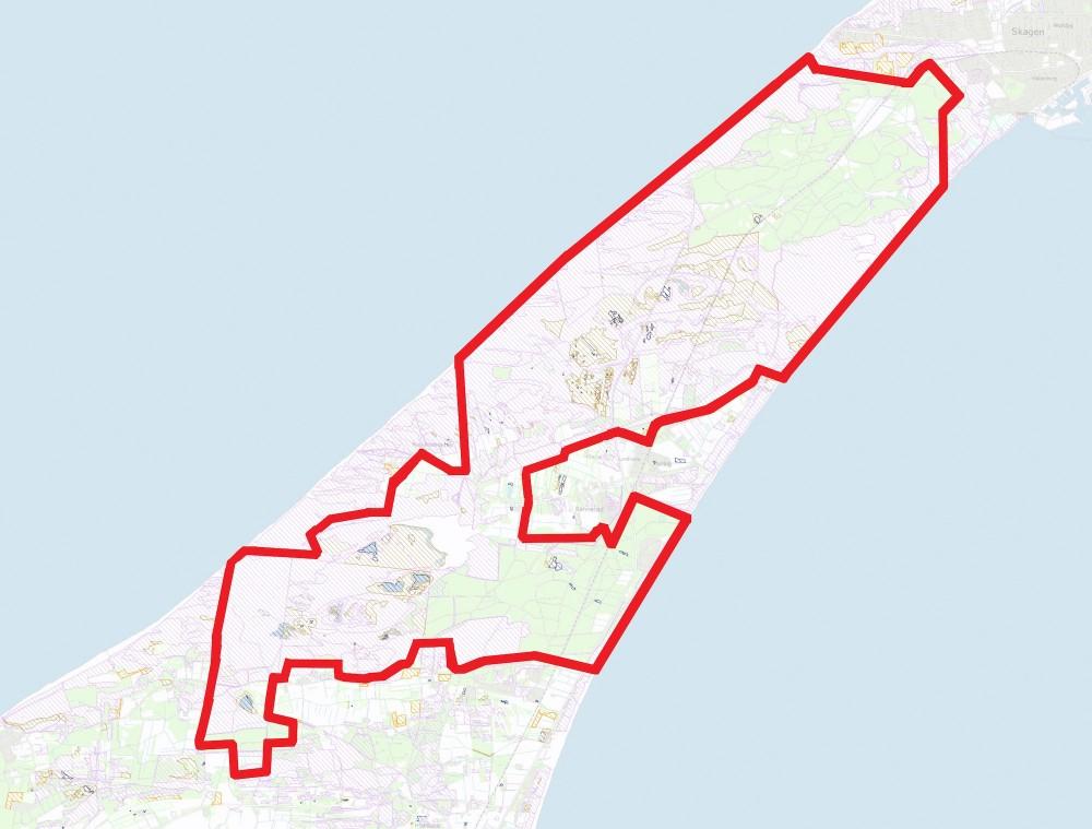Paragraf 3-arealer inden for den foreslåede afgrænsning af Naturnationalpark Skagens Odde (skraverede områder – klik på kortet for at se det i større format)