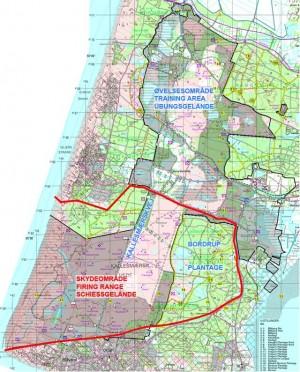 Kort over militærområder fra Kallesmærsk Hede og Bordrup Plantage i syd til Børsmose Hede i nord