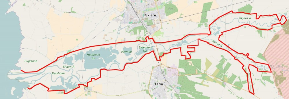 Forslag til afgrænsning af Naturnationalpark Skjern Floddelta – 29 kvadratkilometer vildere natur (kortet er baseret på OpenStreetMap)