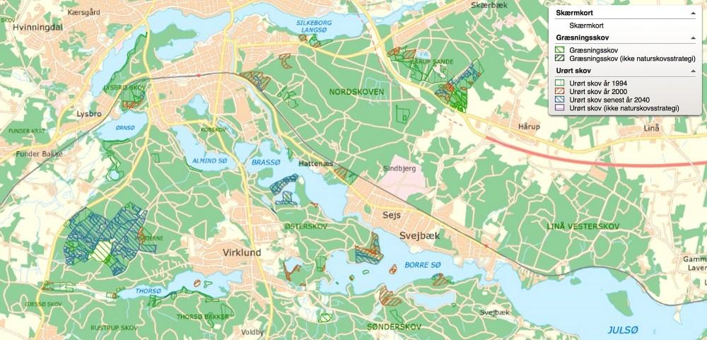 På skovkortet her kan man se, hvor lidt urørt skov og græsningsskov, der er i området, og det meste af den urørte skal første lægges urørt efter 2040. Det lille område Knagerne på 5 hektar har været urørt siden 1957 og er derfor noget af det meste spændende skov (om end her fejlagtigt markeret som urørt siden 2000) – men dét bør være modellen for al den stats- og kommuneejede skov i nærværende forslag til Naturnationalpark Søhøjlandet
