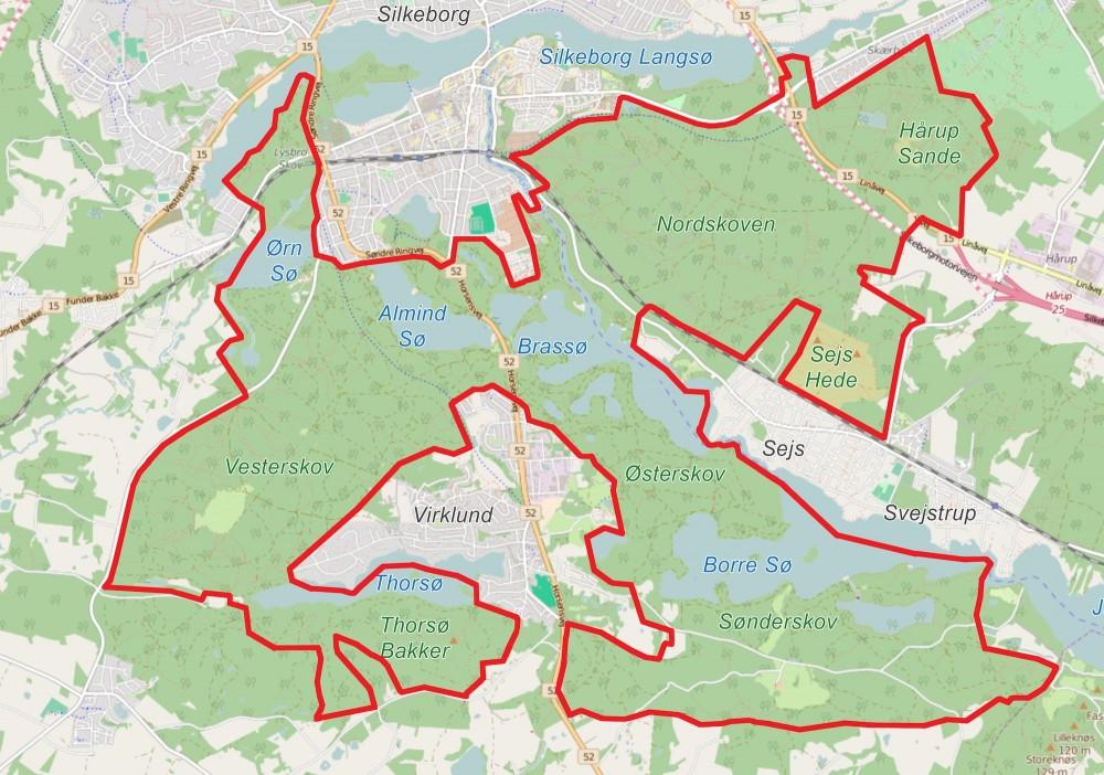 Forslag til afgrænsning af Naturnationalpark Søhøjlandet – 32 kvadratkilometer vildere natur (kortet er baseret på OpenStreetMap)