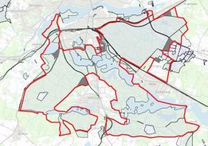Ejerforholdene i den foreslåede afgrænsning viser, at arealet næsten udelukkende er ejet af staten (skraverede områder) og Silkeborg Kommune (grå arealer)