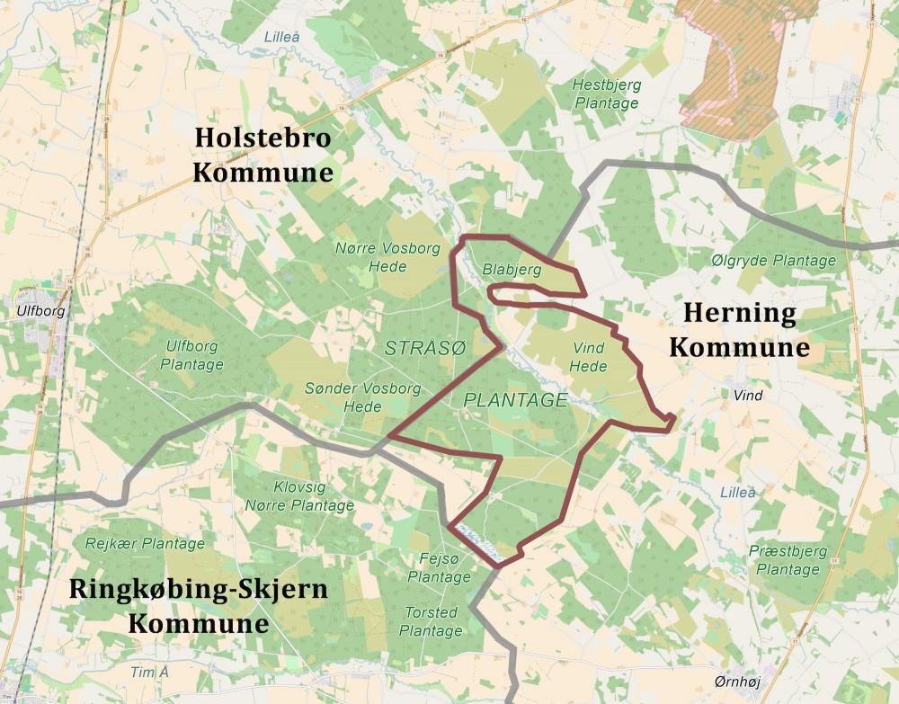 Forslag til afgrænsning, hvis Naturnationalpark Stråsø Skov & Vind Hede skulle blive et projekt alene for Herning Kommune (eller hvis første fase alene var henlagt til de statsejede arealer i Herning Kommune, hvor arealer i Holstebro Kommune og Ringkøbing-Skjern eventuelt blev koblet til senere) – stadig et stort naturreservat på ca. 1.900 hektar.