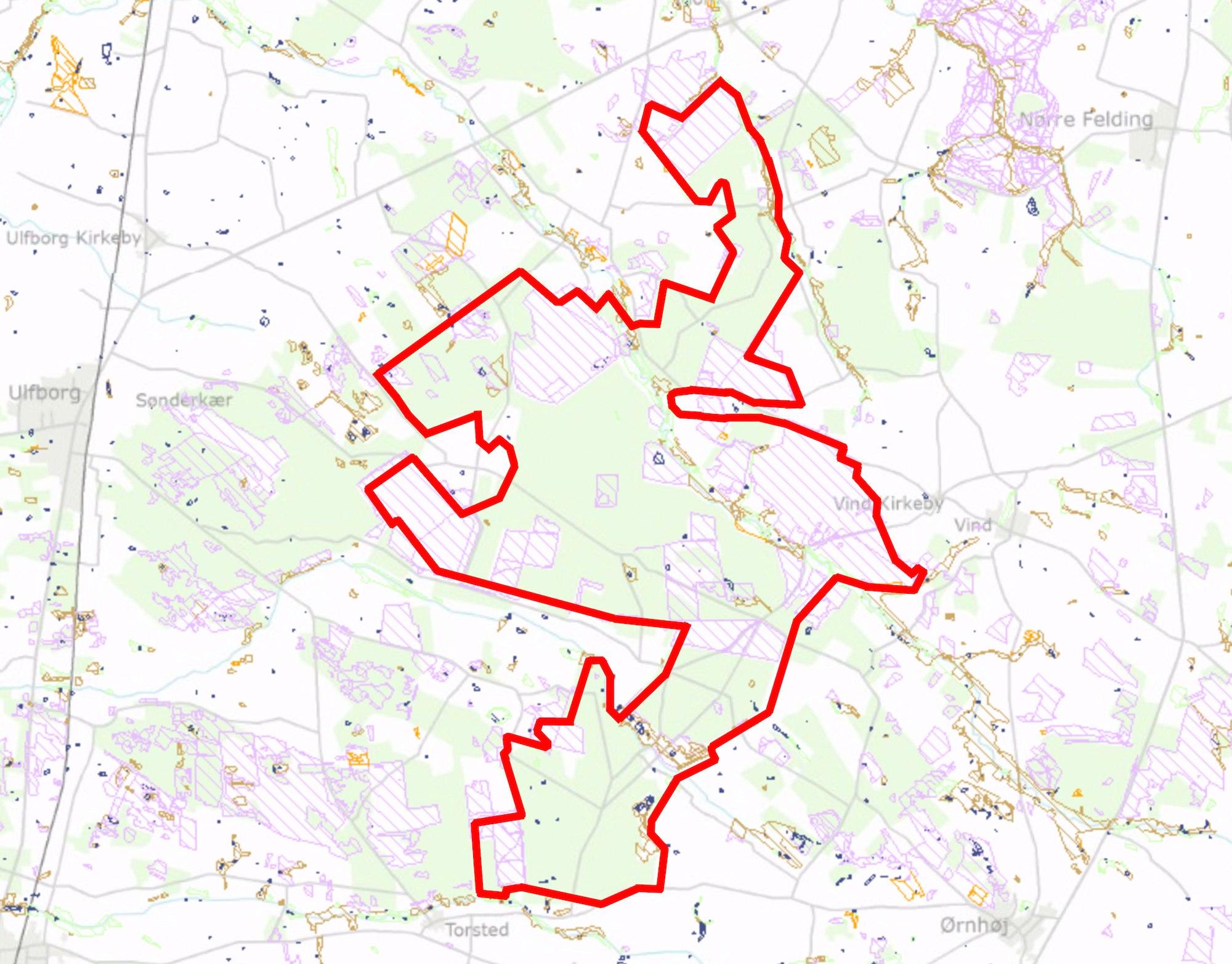 Paragraf 3-arealer (skraveret og farvet) inden for den foreslåede afgrænsning