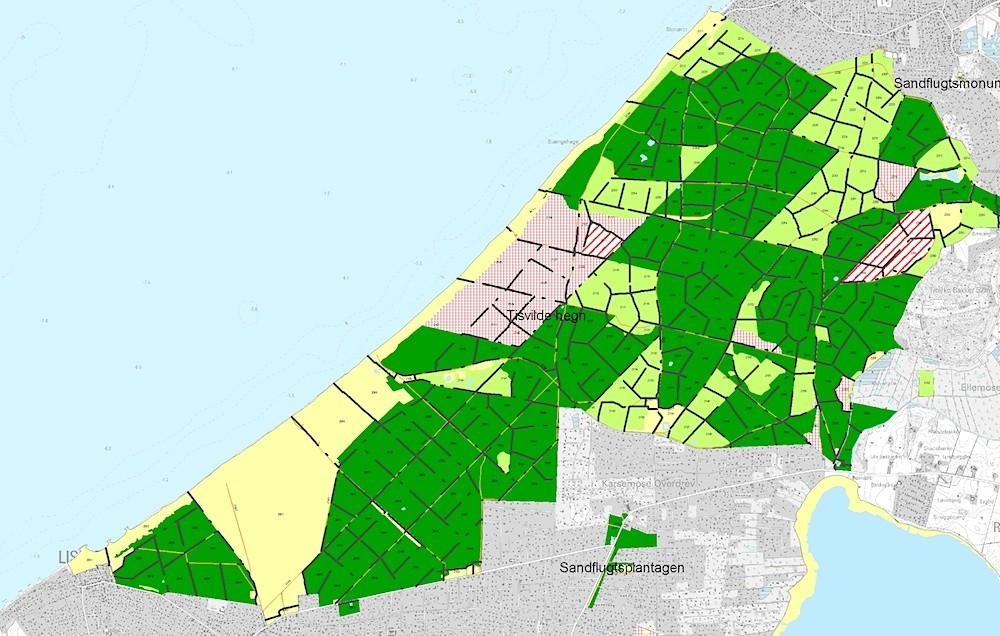 Udsnit af Naturstyrelsens skovkort over Liseleje Plantage, Asserbo Plantage og Tisvilde Hegn. De ternede arealer er urørt skov, de stribede græsningsskov, de lysegrønne løvskovsdomineret skov, de mørkegrønne nåletræsdomineret skov og de gullige er lysåbne arealer.