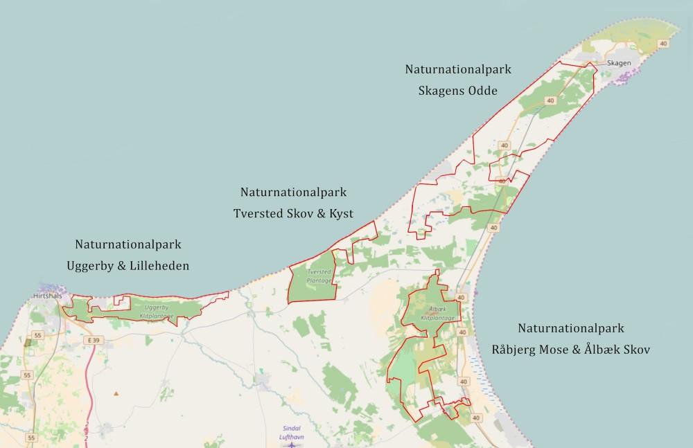 Fire oplagte naturnationalparker med fremtidsmuligheder for tilnærmelser, især mellem Naturnationalpark Tversted Skov & Kyst og Naturnationalpark Skagens Odde