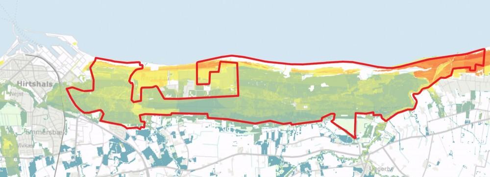 Biodiversitetsværdierne fremgår af dette kort over Naturnationalpark Uggerby & LIlleheden – klitplantagerne er fattige på naturværdier, men ved kysterne sker der noget