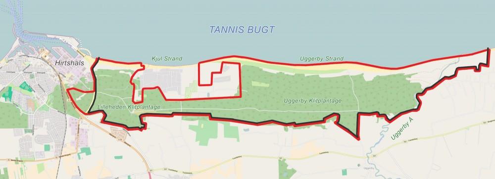 Forslag til hegnslinje omkring Naturnationalpark Uggerby & Lilleheden