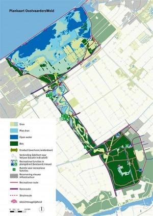 OostvaardersWold. Plan til at sammenføje de to store naturområder, Oostvaardersplassen i nord og Horsterwold i syd via en 7 km lang korridor. Projektet krævede opkøb af landbrugsarealer, men løb tør for penge, skønt man var godt i gang ...