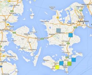 De seks lokaliteter, hvor rødlig perlemorsommerfugl er registreret i 2016