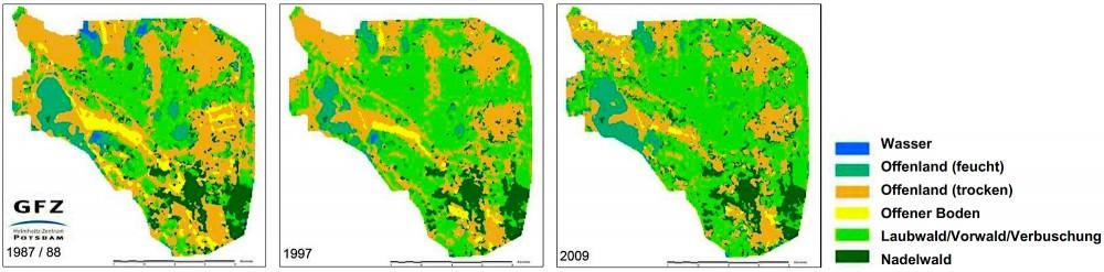 Militære aktiviteters positive betydning for lysåbe naturlandskaber i Döberitzer Heide. Kortene viser udviklingen (eller afviklingen) af åbne landskaber fra 1987 (da militære aktiviteter stadig tilføjede dynamik og forstyrrelser og modvirkede tilgroning) til 2009 (hvor militærets exit allerede har betydet en væsentlig indskrænkning af lysåbne arealer). Kilde: Luft, L. m.fl. (red.) 2001: Bericht zum Workshop 'Monitoring in der Döberitzer Heide' (Fachbeiträge des LUGV, Heft Nr. 123; Landesamt für Umwelt, Gesundheit und Verbraucherschutz).