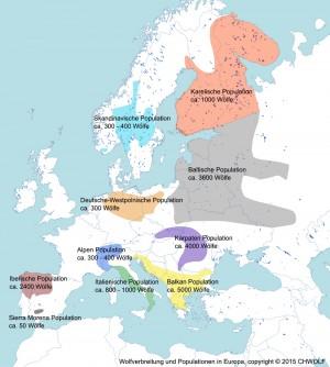 Ulveudbredelse i Europa (Kilde: CHWOLF)