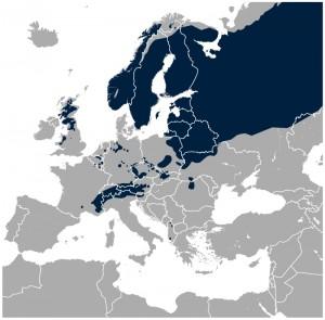Urfuglens udbredelse i Europa i dag – støvsuget i Danmark, men vidt udbredt i det øvrige Skandinavien (kort: Wikipedia)